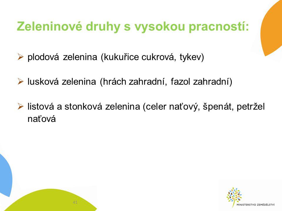 Zeleninové druhy s vysokou pracností:  plodová zelenina (kukuřice cukrová, tykev)  lusková zelenina (hrách zahradní, fazol zahradní)  listová a sto