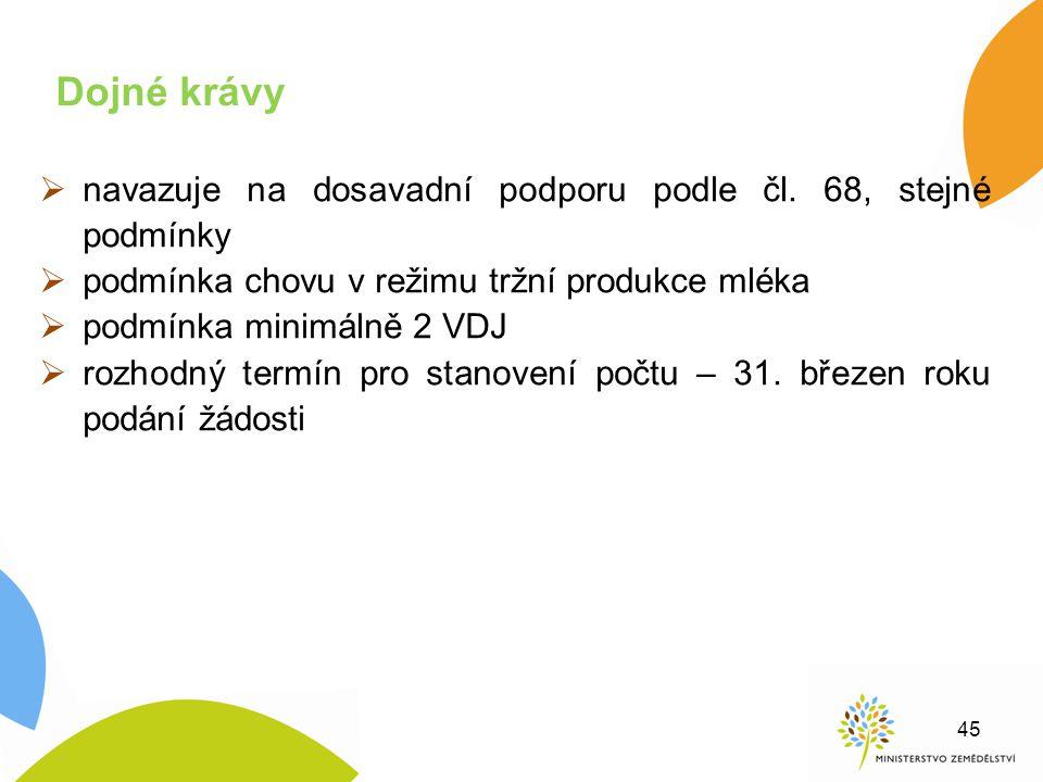  navazuje na dosavadní podporu podle čl. 68, stejné podmínky  podmínka chovu v režimu tržní produkce mléka  podmínka minimálně 2 VDJ  rozhodný ter