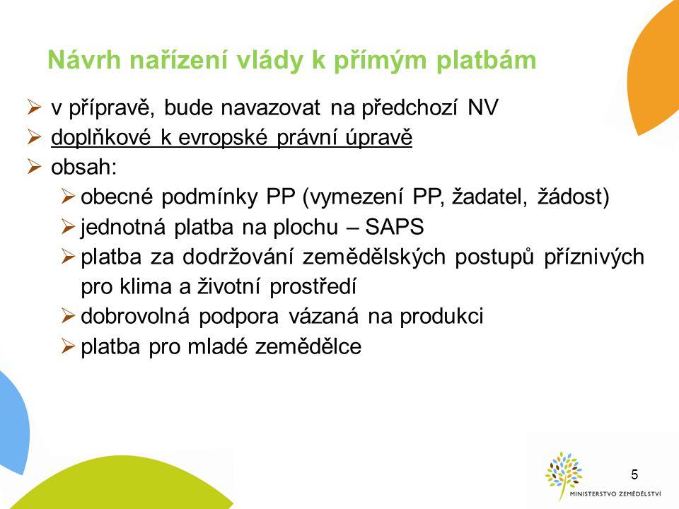  v přípravě, bude navazovat na předchozí NV  doplňkové k evropské právní úpravě  obsah:  obecné podmínky PP (vymezení PP, žadatel, žádost)  jedno