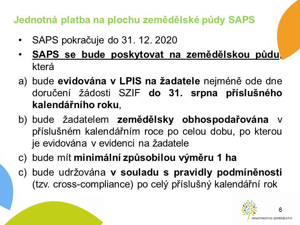 Jednotná platba na plochu zemědělské půdy SAPS SAPS pokračuje do 31. 12. 2020 SAPS se bude poskytovat na zemědělskou půdu, která a)bude evidována v LP