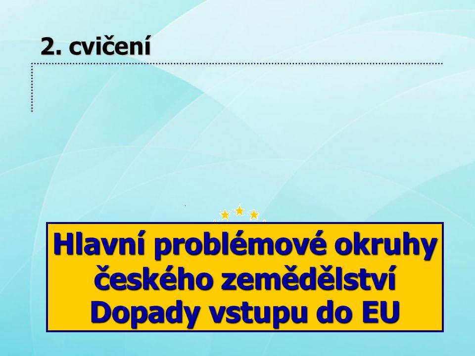Hlavní problémové okruhy českého zemědělství Dopady vstupu do EU 2. cvičení