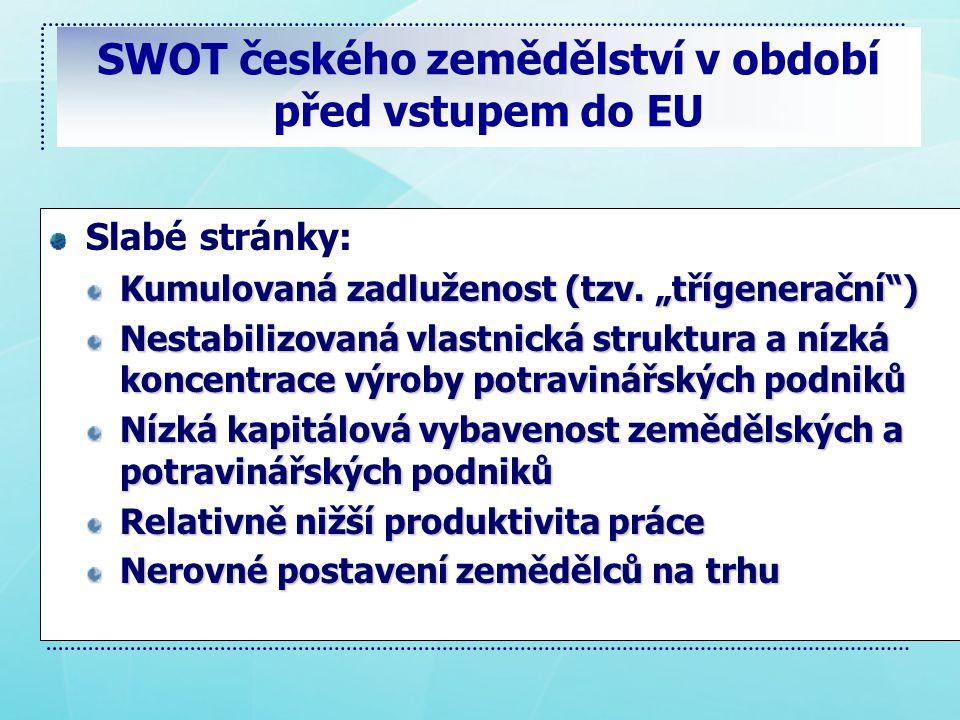 SWOT českého zemědělství v období před vstupem do EU Slabé stránky: Kumulovaná zadluženost (tzv.