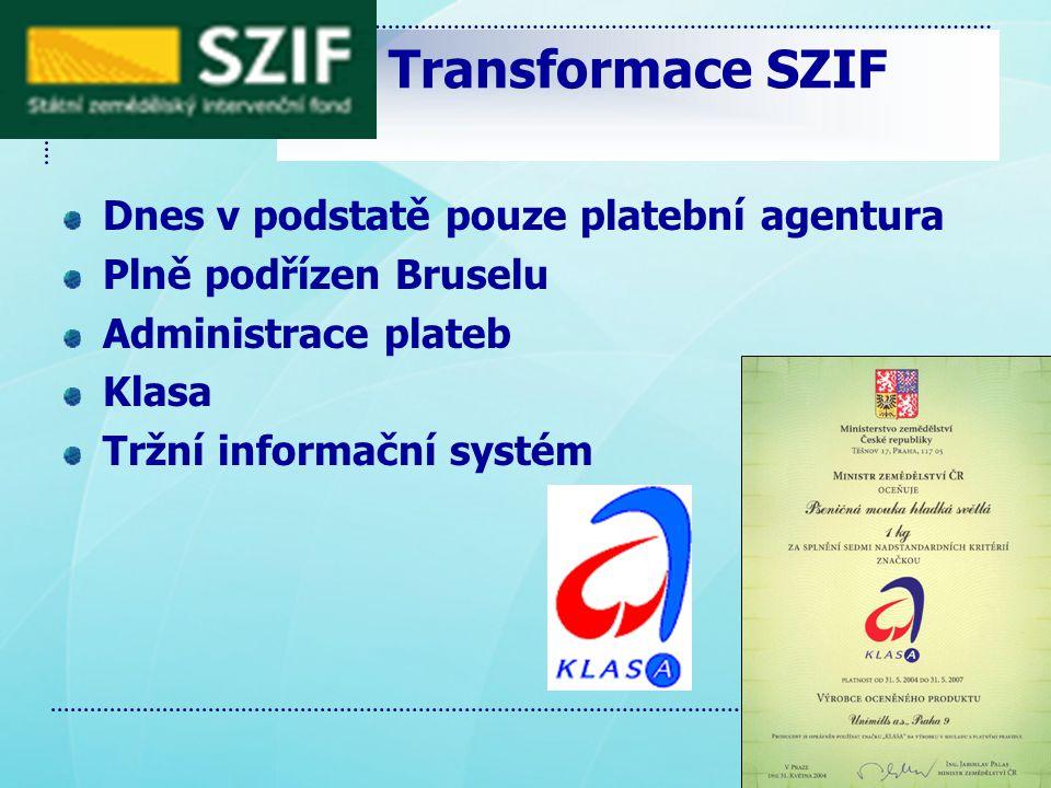 Transformace SZIF Dnes v podstatě pouze platební agentura Plně podřízen Bruselu Administrace plateb Klasa Tržní informační systém