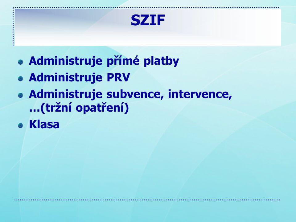 SZIF Administruje přímé platby Administruje PRV Administruje subvence, intervence, …(tržní opatření) Klasa