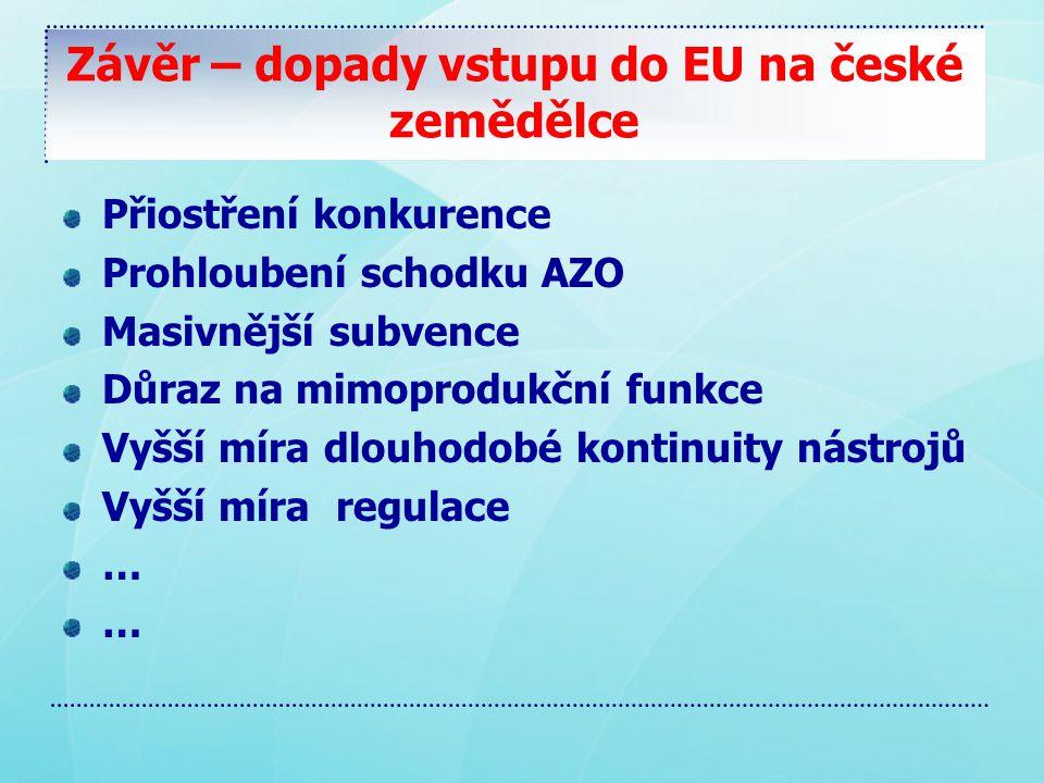 Závěr – dopady vstupu do EU na české zemědělce Přiostření konkurence Prohloubení schodku AZO Masivnější subvence Důraz na mimoprodukční funkce Vyšší míra dlouhodobé kontinuity nástrojů Vyšší míra regulace … …