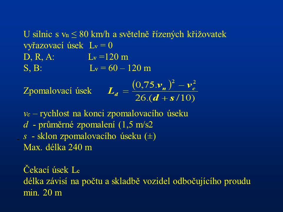 - U silnic s v n ≤ 80 km/h a světelně řízených křižovatek vyřazovací úsek L v = 0 D, R, A: L v =120 m S, B: L v = 60 – 120 m Zpomalovací úsek v c – rychlost na konci zpomalovacího úseku d - průměrné zpomalení (1,5 m/s2 s - sklon zpomalovacího úseku (±) Max.