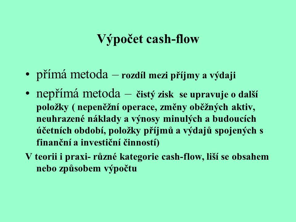 Výpočet cash-flow přímá metoda – rozdíl mezi příjmy a výdaji nepřímá metoda – čistý zisk se upravuje o další položky ( nepeněžní operace, změny oběžný
