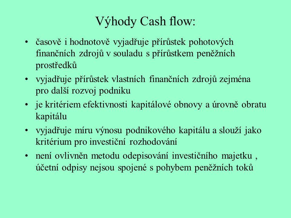 Výhody Cash flow: časově i hodnotově vyjadřuje přírůstek pohotových finančních zdrojů v souladu s přírůstkem peněžních prostředků vyjadřuje přírůstek