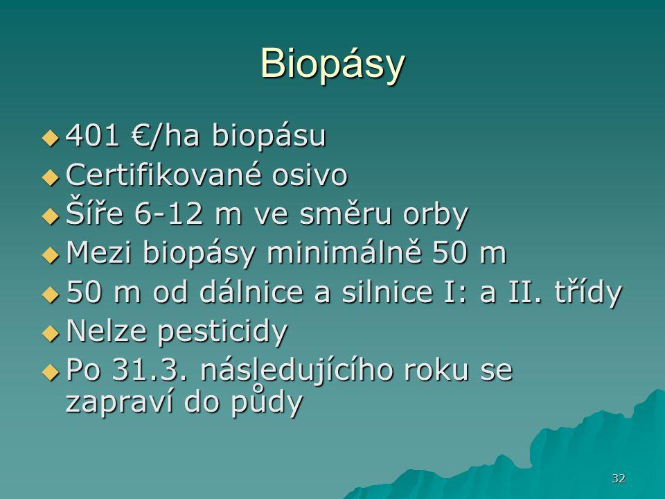 32 Biopásy  401 €/ha biopásu  Certifikované osivo  Šíře 6-12 m ve směru orby  Mezi biopásy minimálně 50 m  50 m od dálnice a silnice I: a II.