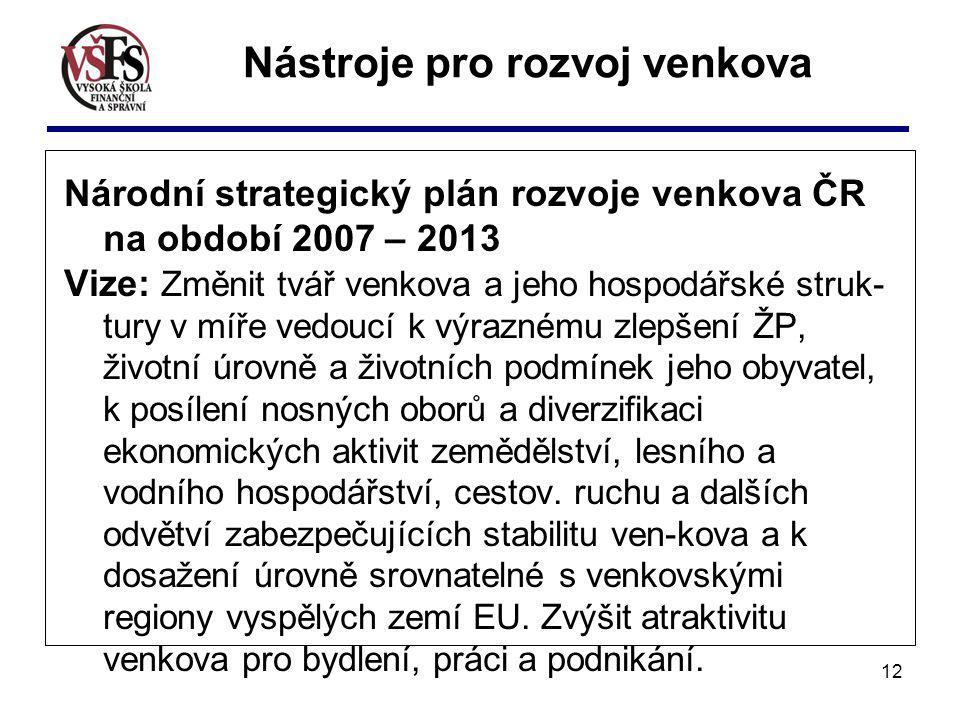 12 Národní strategický plán rozvoje venkova ČR na období 2007 – 2013 Vize: Změnit tvář venkova a jeho hospodářské struk- tury v míře vedoucí k výrazné