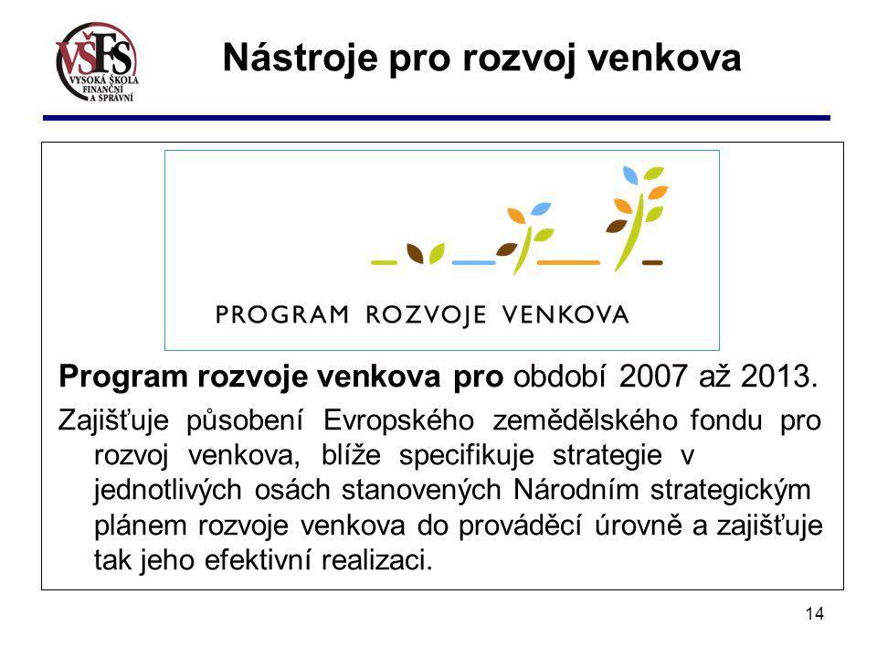 14 Program rozvoje venkova pro období 2007 až 2013. Zajišťuje působení Evropského zemědělského fondu pro rozvoj venkova, blíže specifikuje strategie v