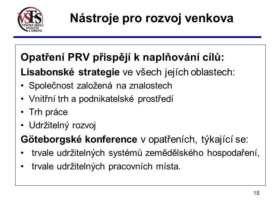 15 Opatření PRV přispějí k naplňování cílů: Lisabonské strategie ve všech jejích oblastech: Společnost založená na znalostech Vnitřní trh a podnikatel