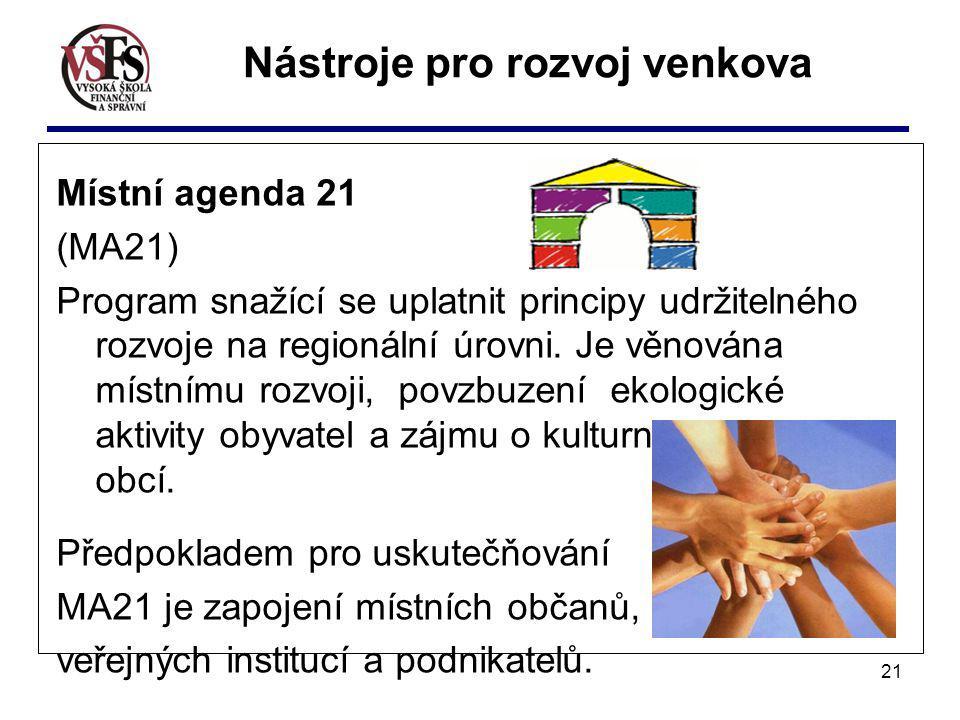 21 Místní agenda 21 (MA21) Program snažící se uplatnit principy udržitelného rozvoje na regionální úrovni. Je věnována místnímu rozvoji, povzbuzení ek