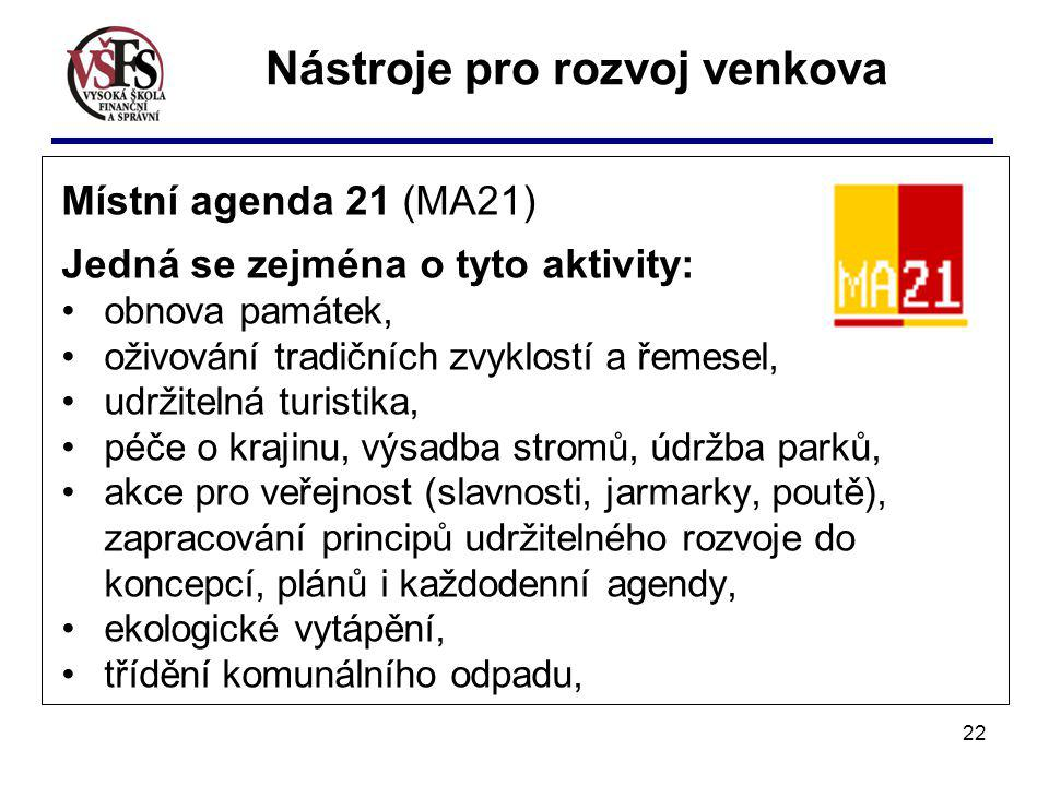 22 Místní agenda 21 (MA21) Jedná se zejména o tyto aktivity: obnova památek, oživování tradičních zvyklostí a řemesel, udržitelná turistika, péče o kr