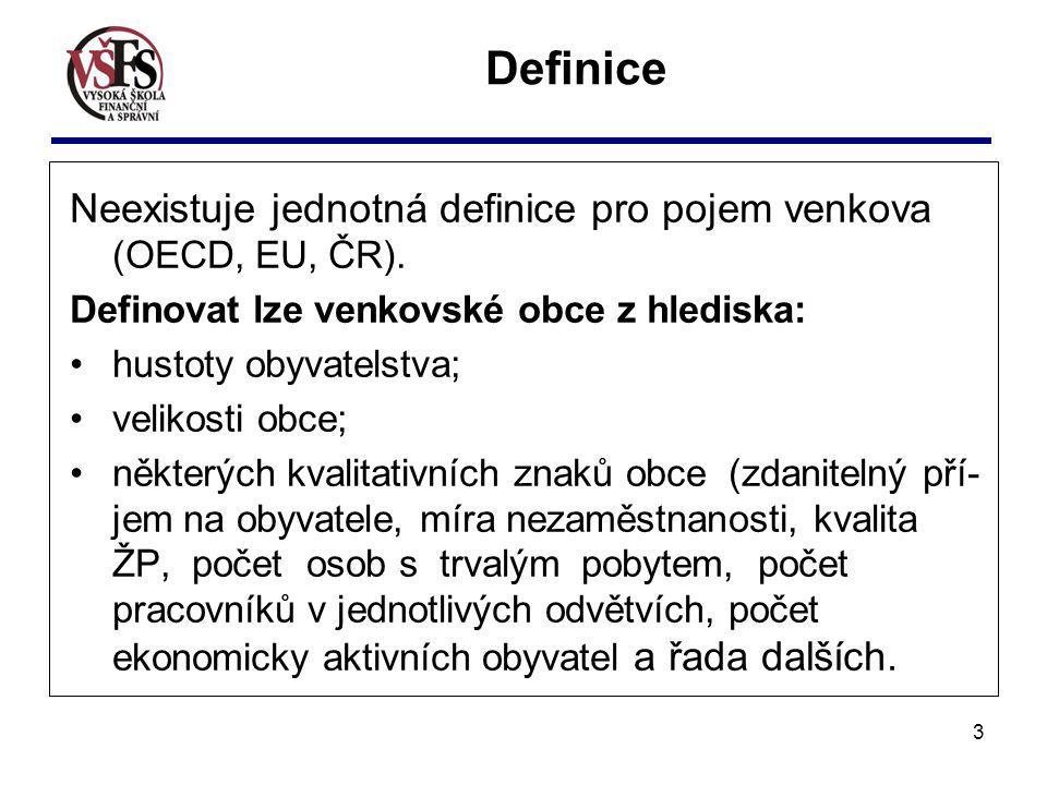 3 Neexistuje jednotná definice pro pojem venkova (OECD, EU, ČR). Definovat lze venkovské obce z hlediska: hustoty obyvatelstva; velikosti obce; někter