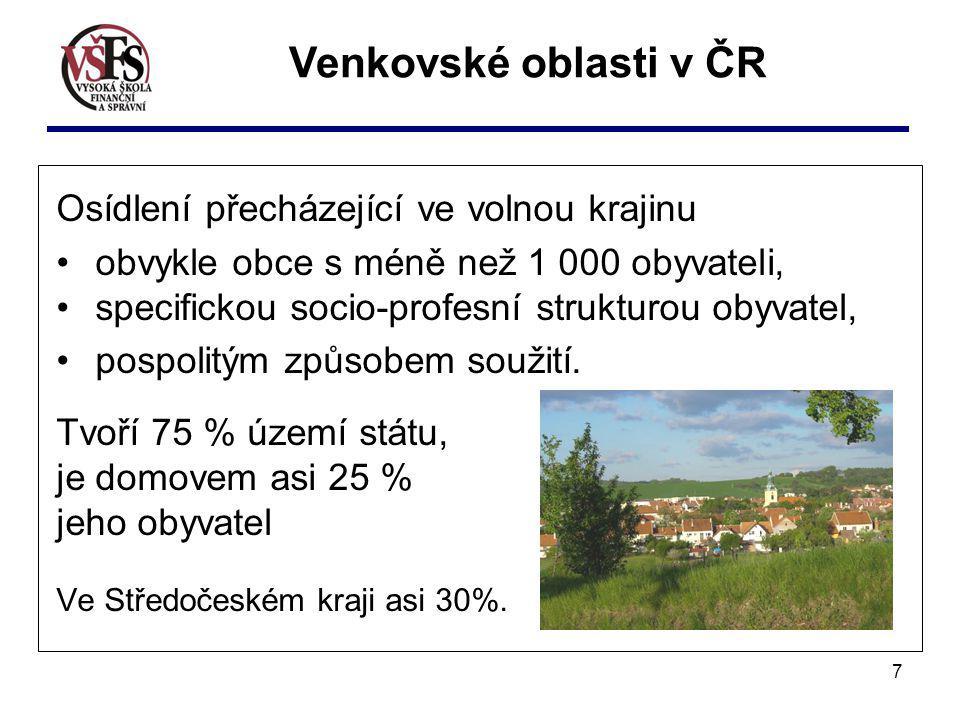 7 Osídlení přecházející ve volnou krajinu obvykle obce s méně než 1 000 obyvateli, specifickou socio-profesní strukturou obyvatel, pospolitým způsobem