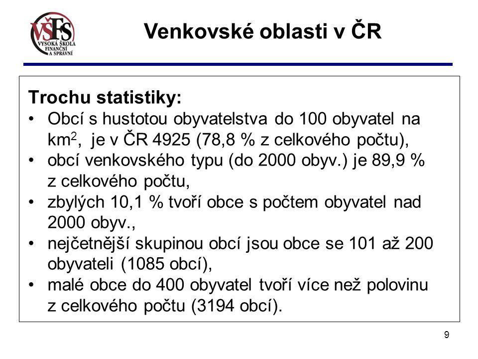 9 Trochu statistiky: Obcí s hustotou obyvatelstva do 100 obyvatel na km 2, je v ČR 4925 (78,8 % z celkového počtu), obcí venkovského typu (do 2000 oby