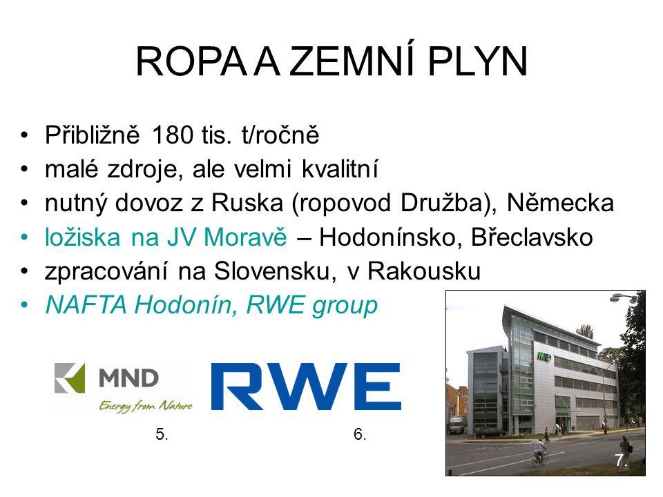 ROPA A ZEMNÍ PLYN Přibližně 180 tis. t/ročně malé zdroje, ale velmi kvalitní nutný dovoz z Ruska (ropovod Družba), Německa ložiska na JV Moravě – Hodo