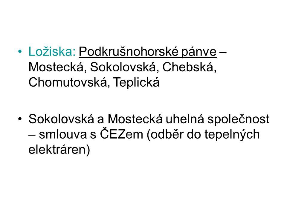 Ložiska: Podkrušnohorské pánve – Mostecká, Sokolovská, Chebská, Chomutovská, Teplická Sokolovská a Mostecká uhelná společnost – smlouva s ČEZem (odběr