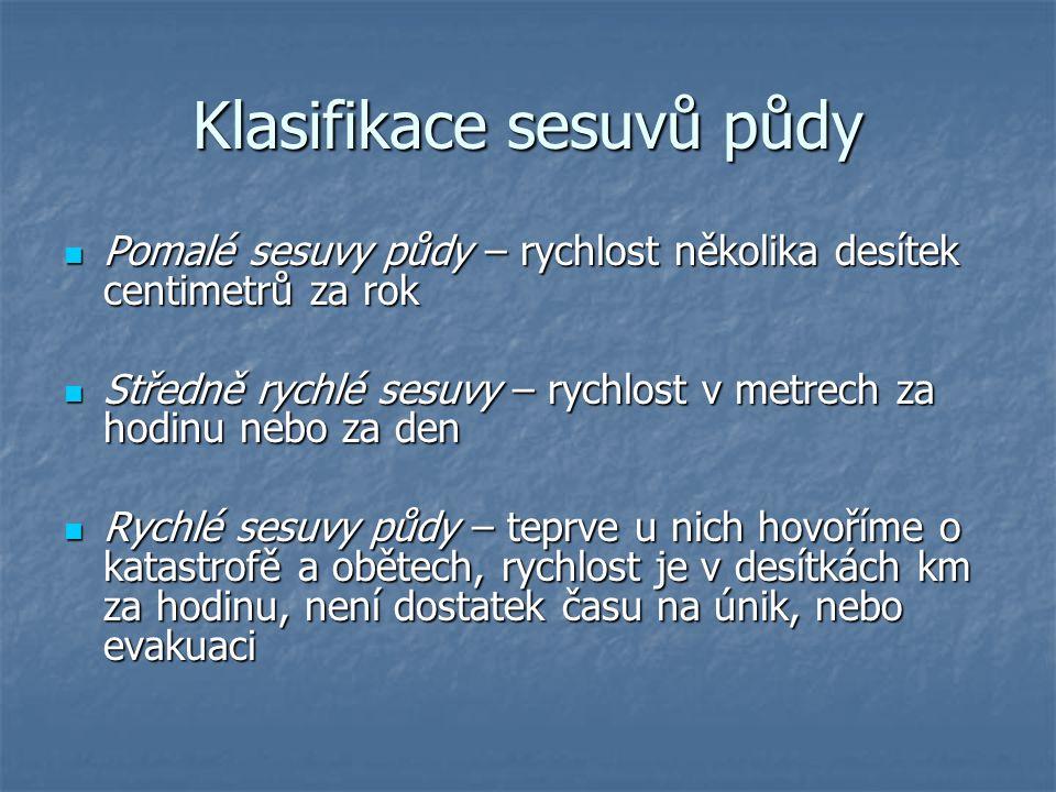 Klasifikace sesuvů půdy Pomalé sesuvy půdy – rychlost několika desítek centimetrů za rok Pomalé sesuvy půdy – rychlost několika desítek centimetrů za