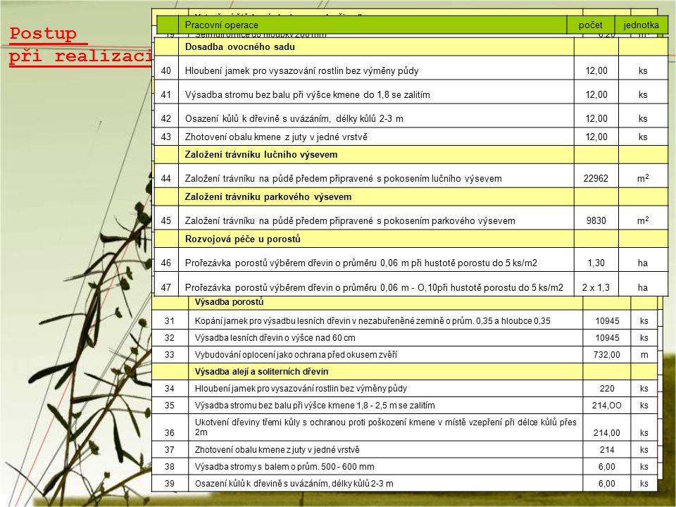 Postup při realizaci Pracovní operacepočet jedn otka Odstranění ruderálních porostů 1Mechanické odstranění ruderálního porostu 55978,0 0m2m2 2 Odstran