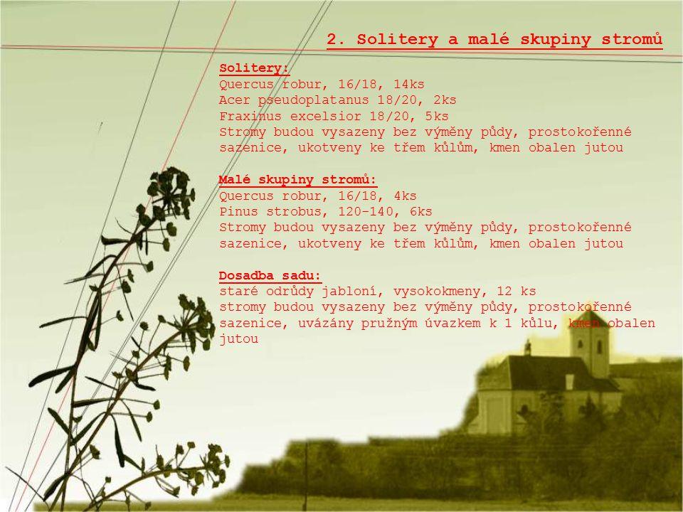 2. Solitery a malé skupiny stromů Solitery: Quercus robur, 16/18, 14ks Acer pseudoplatanus 18/20, 2ks Fraxinus excelsior 18/20, 5ks Stromy budou vysaz