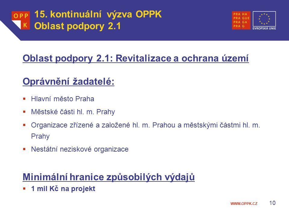 WWW.OPPK.CZ 10 Oblast podpory 2.1: Revitalizace a ochrana území Oprávnění žadatelé:  Hlavní město Praha  Městské části hl.