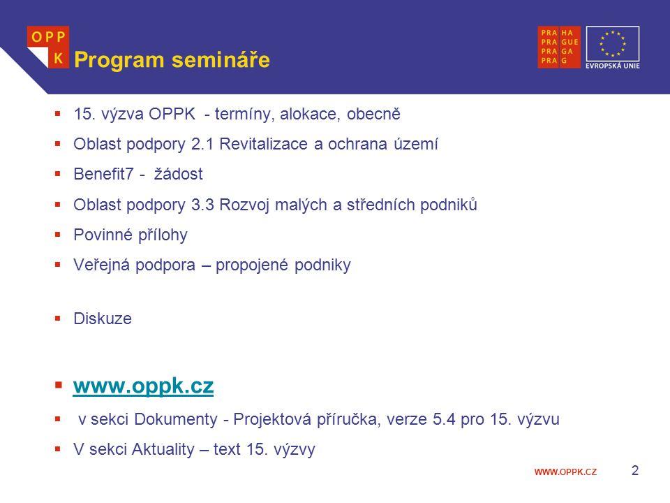 WWW.OPPK.CZ 2 Program semináře  15.