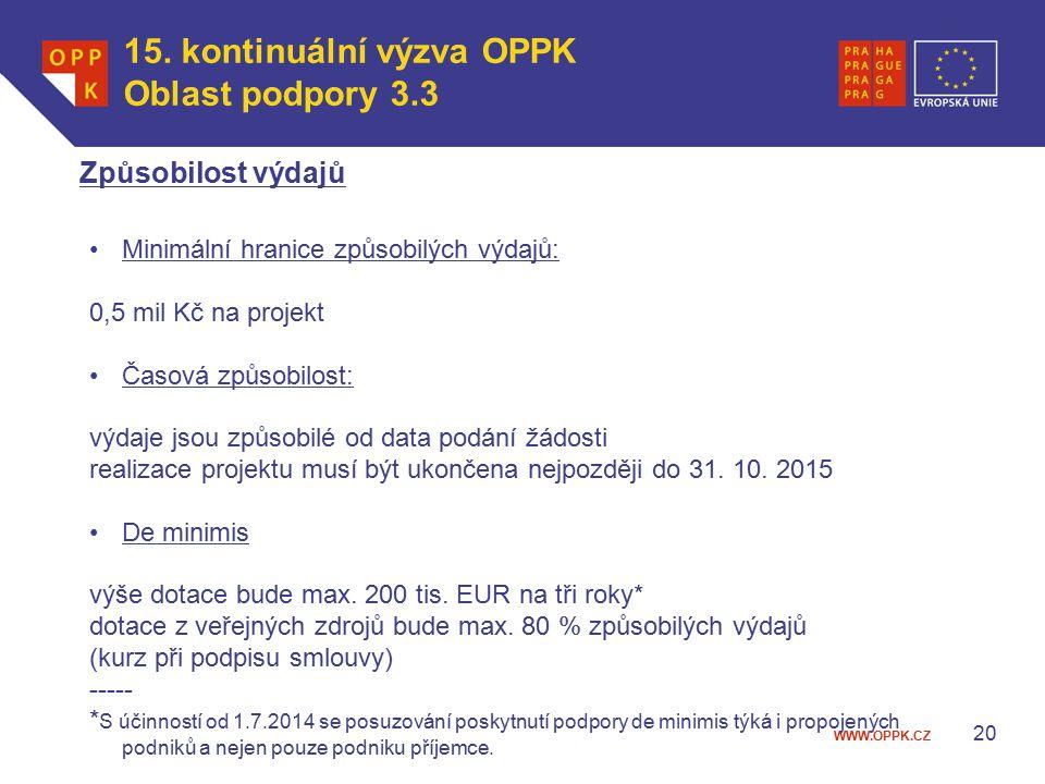 WWW.OPPK.CZ 20 Způsobilost výdajů 15.