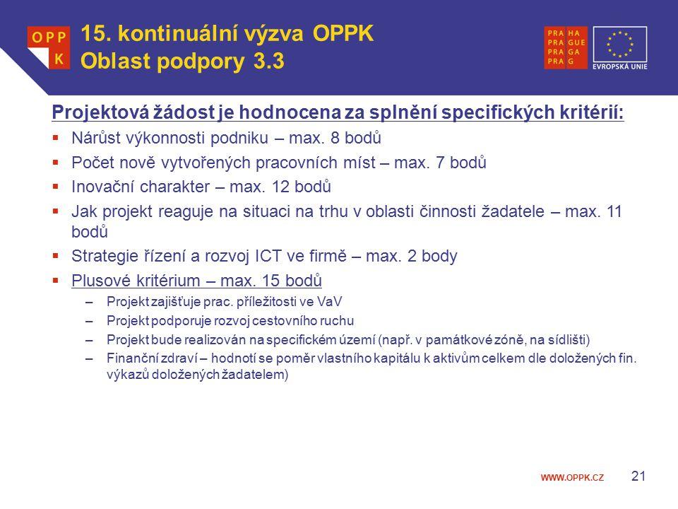 WWW.OPPK.CZ 21 Projektová žádost je hodnocena za splnění specifických kritérií:  Nárůst výkonnosti podniku – max.