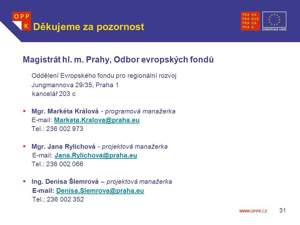 WWW.OPPK.CZ 31 Děkujeme za pozornost Magistrát hl.