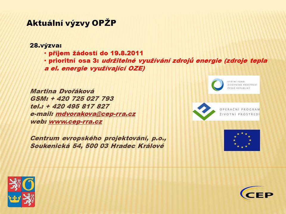 28.výzva: příjem žádostí do 19.8.2011 prioritní osa 3: udržitelné využívání zdrojů energie (zdroje tepla a el. energie využívající OZE) Martina Dvořák