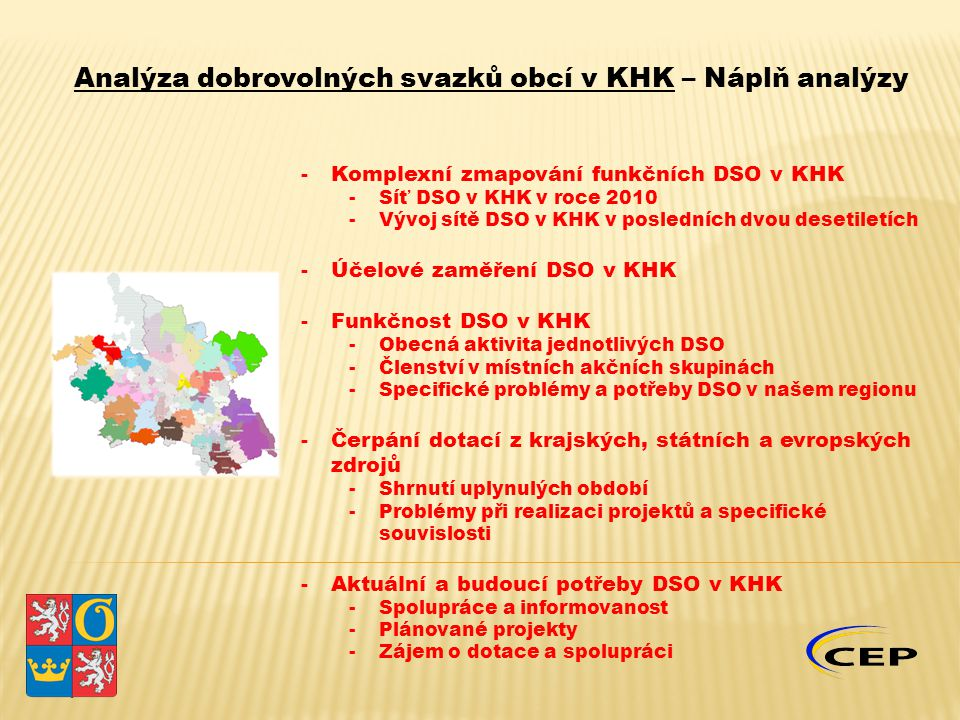 -Komplexní zmapování funkčních DSO v KHK -Síť DSO v KHK v roce 2010 -Vývoj sítě DSO v KHK v posledních dvou desetiletích -Účelové zaměření DSO v KHK -Funkčnost DSO v KHK -Obecná aktivita jednotlivých DSO -Členství v místních akčních skupinách -Specifické problémy a potřeby DSO v našem regionu -Čerpání dotací z krajských, státních a evropských zdrojů -Shrnutí uplynulých období -Problémy při realizaci projektů a specifické souvislosti -Aktuální a budoucí potřeby DSO v KHK -Spolupráce a informovanost -Plánované projekty -Zájem o dotace a spolupráci