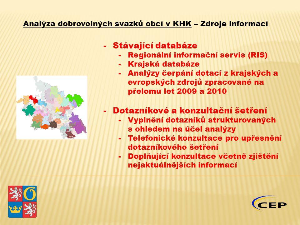 -Stávající databáze -Regionální informační servis (RIS) -Krajská databáze -Analýzy čerpání dotací z krajských a evropských zdrojů zpracované na přelomu let 2009 a 2010 -Dotazníkové a konzultační šetření -Vyplnění dotazníků strukturovaných s ohledem na účel analýzy -Telefonické konzultace pro upřesnění dotazníkového šetření -Doplňující konzultace včetně zjištění nejaktuálnějších informací