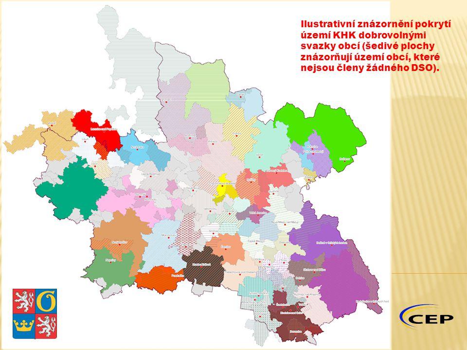 Ilustrativní znázornění pokrytí území KHK dobrovolnými svazky obcí (šedivé plochy znázorňují území obcí, které nejsou členy žádného DSO).