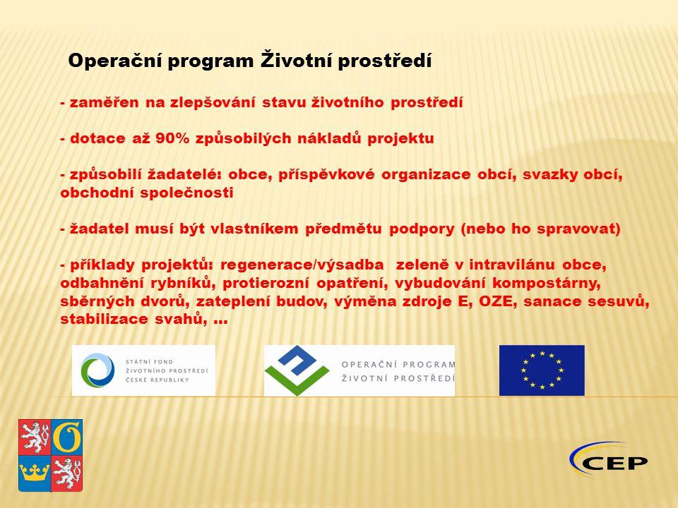 Operační program Životní prostředí - zaměřen na zlepšování stavu životního prostředí - dotace až 90% způsobilých nákladů projektu - způsobilí žadatelé