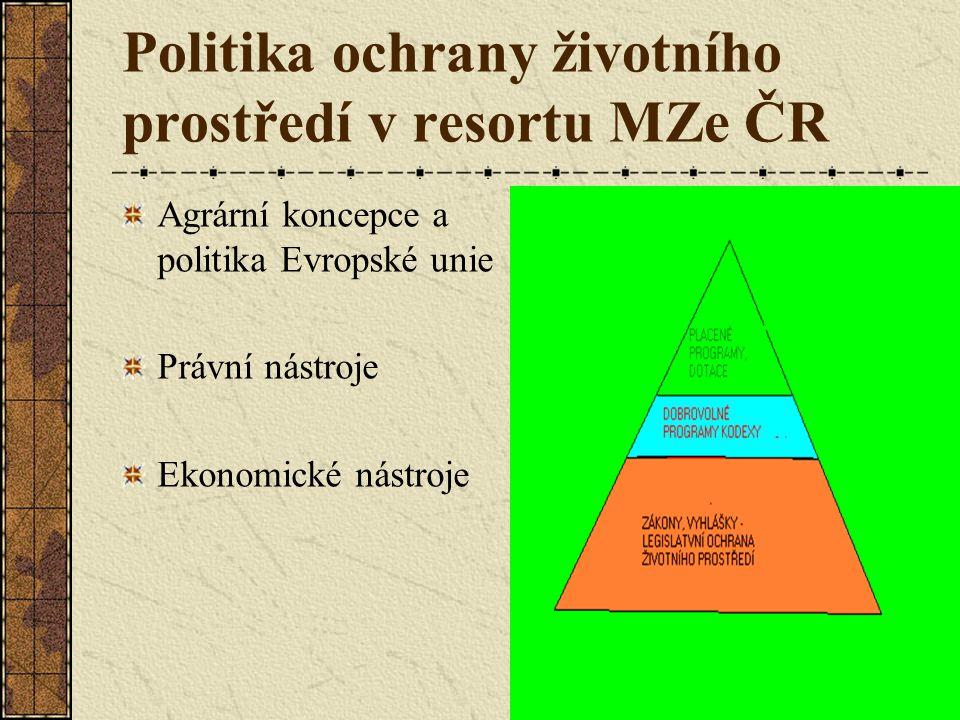 Politika ochrany životního prostředí v resortu MZe ČR Agrární koncepce a politika Evropské unie Právní nástroje Ekonomické nástroje