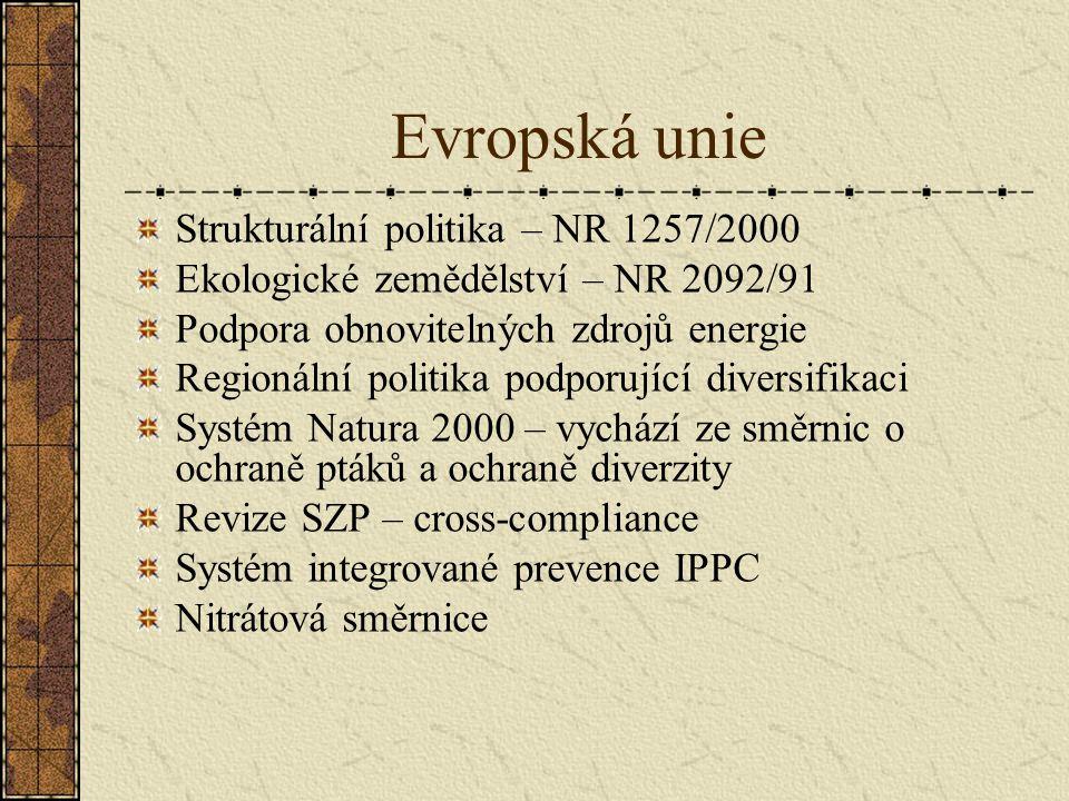 Evropská unie Strukturální politika – NR 1257/2000 Ekologické zemědělství – NR 2092/91 Podpora obnovitelných zdrojů energie Regionální politika podporující diversifikaci Systém Natura 2000 – vychází ze směrnic o ochraně ptáků a ochraně diverzity Revize SZP – cross-compliance Systém integrované prevence IPPC Nitrátová směrnice