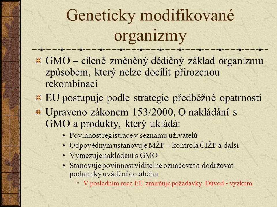 Geneticky modifikované organizmy GMO – cíleně změněný dědičný základ organizmu způsobem, který nelze docílit přirozenou rekombinací EU postupuje podle strategie předběžné opatrnosti Upraveno zákonem 153/2000, O nakládání s GMO a produkty, který ukládá: Povinnost registrace v seznamu uživatelů Odpovědným ustanovuje MŽP – kontrola ČIŽP a další Vymezuje nakládání s GMO Stanovuje povinnost viditelně označovat a dodržovat podmínky uvádění do oběhu  V posledním roce EU zmírňuje požadavky.