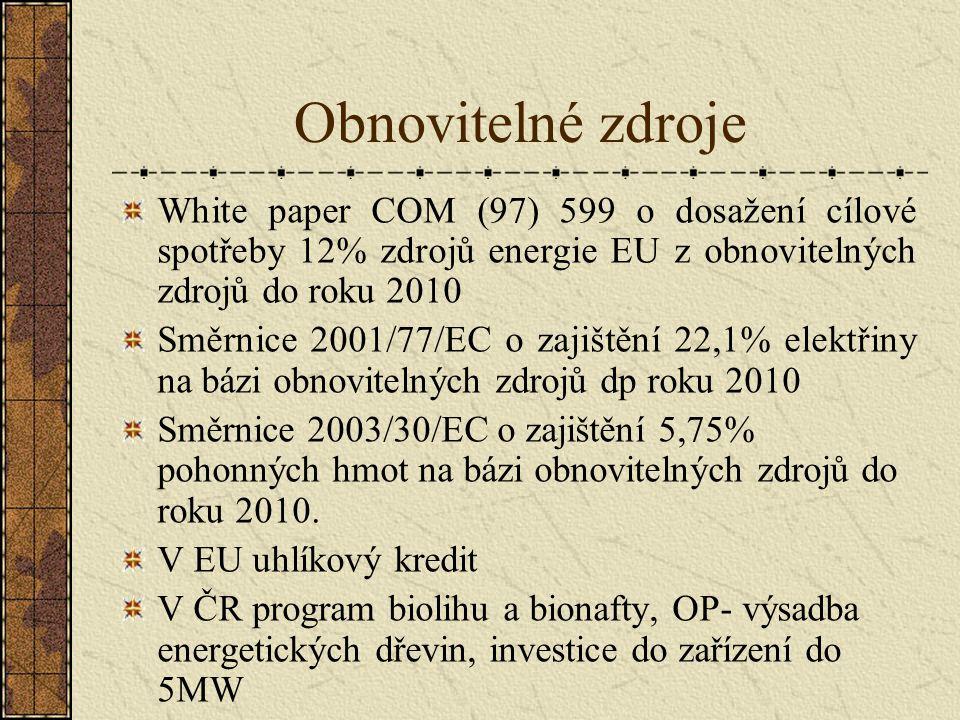 Obnovitelné zdroje White paper COM (97) 599 o dosažení cílové spotřeby 12% zdrojů energie EU z obnovitelných zdrojů do roku 2010 Směrnice 2001/77/EC o zajištění 22,1% elektřiny na bázi obnovitelných zdrojů dp roku 2010 Směrnice 2003/30/EC o zajištění 5,75% pohonných hmot na bázi obnovitelných zdrojů do roku 2010.