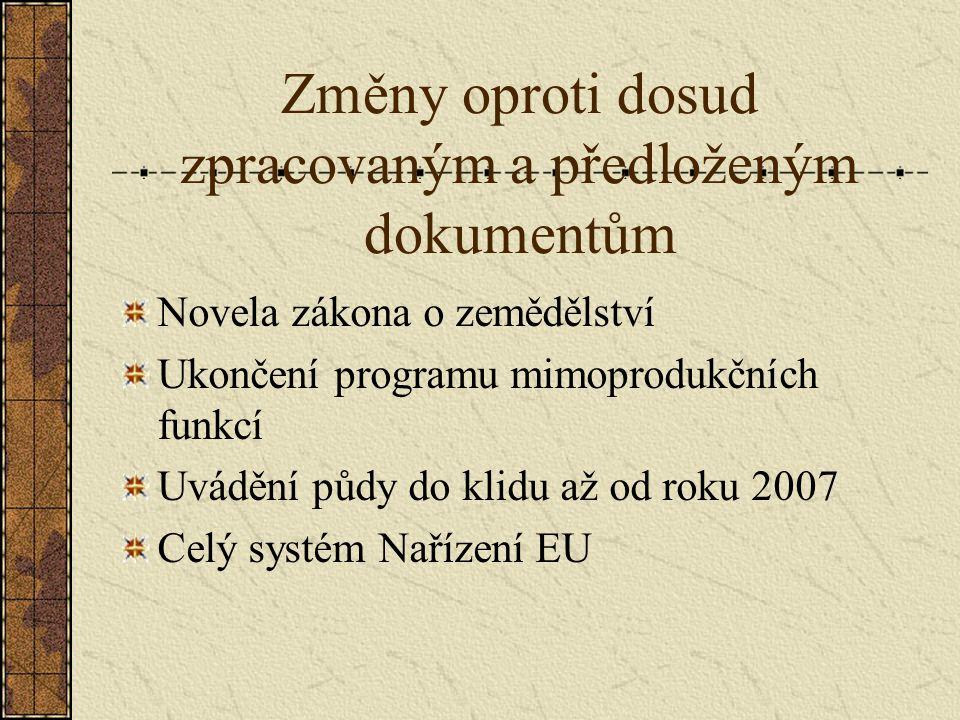 Změny oproti dosud zpracovaným a předloženým dokumentům Novela zákona o zemědělství Ukončení programu mimoprodukčních funkcí Uvádění půdy do klidu až od roku 2007 Celý systém Nařízení EU