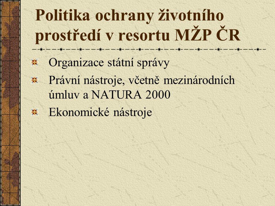 Politika ochrany životního prostředí v resortu MŽP ČR Organizace státní správy Právní nástroje, včetně mezinárodních úmluv a NATURA 2000 Ekonomické nástroje