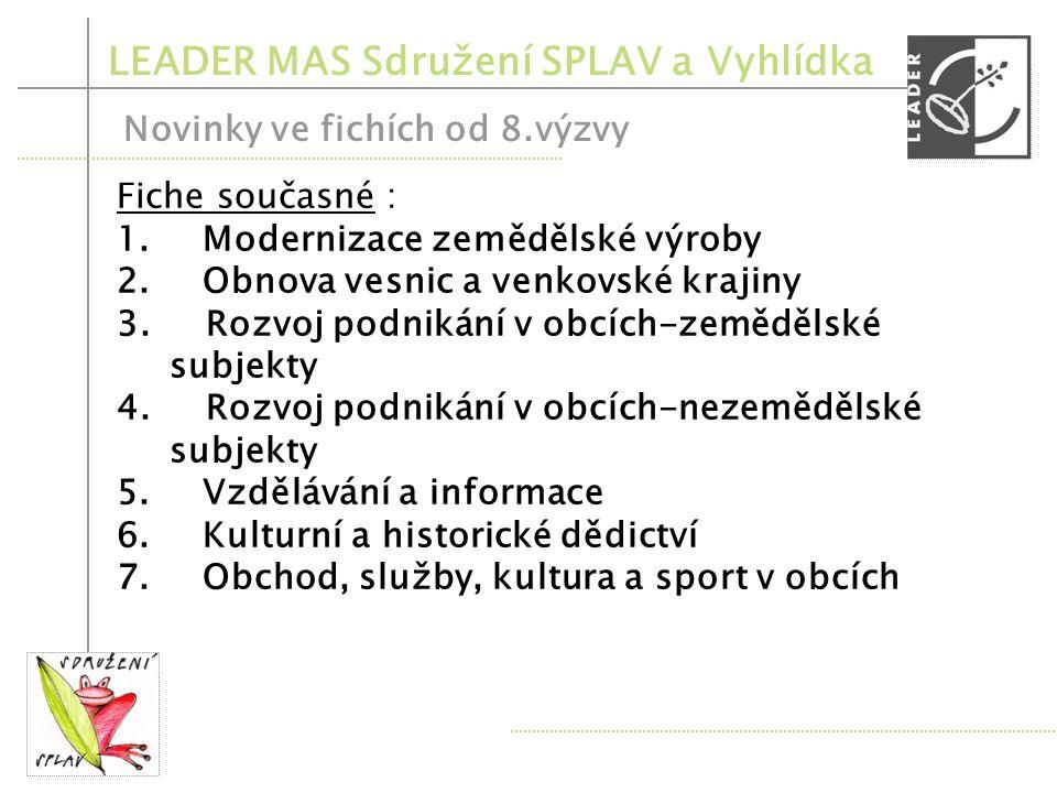 LEADER MAS Sdružení SPLAV a Vyhlídka Novinky v opatřeních PRV od 8.výzvy Opatření III.2.2.