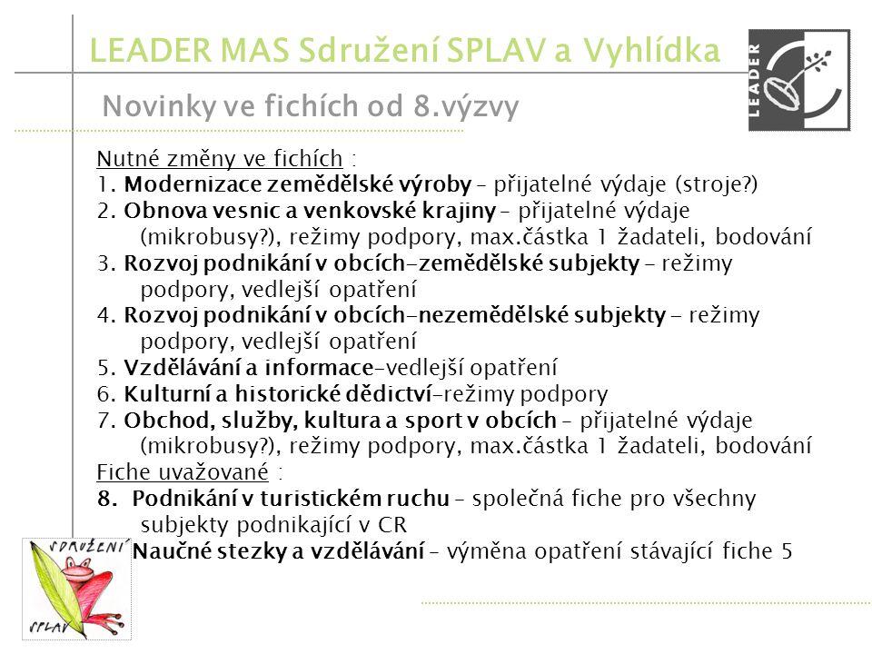 LEADER MAS Sdružení SPLAV a Vyhlídka Novinky ve fichích od 8.výzvy 1.