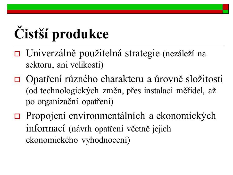 Čistší produkce  Univerzálně použitelná strategie (nezáleží na sektoru, ani velikosti)  Opatření různého charakteru a úrovně složitosti (od technolo