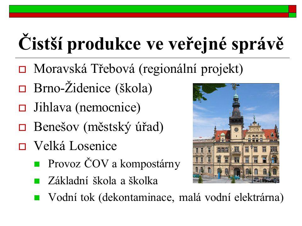 Čistší produkce ve veřejné správě  Moravská Třebová (regionální projekt)  Brno-Židenice (škola)  Jihlava (nemocnice)  Benešov (městský úřad)  Vel