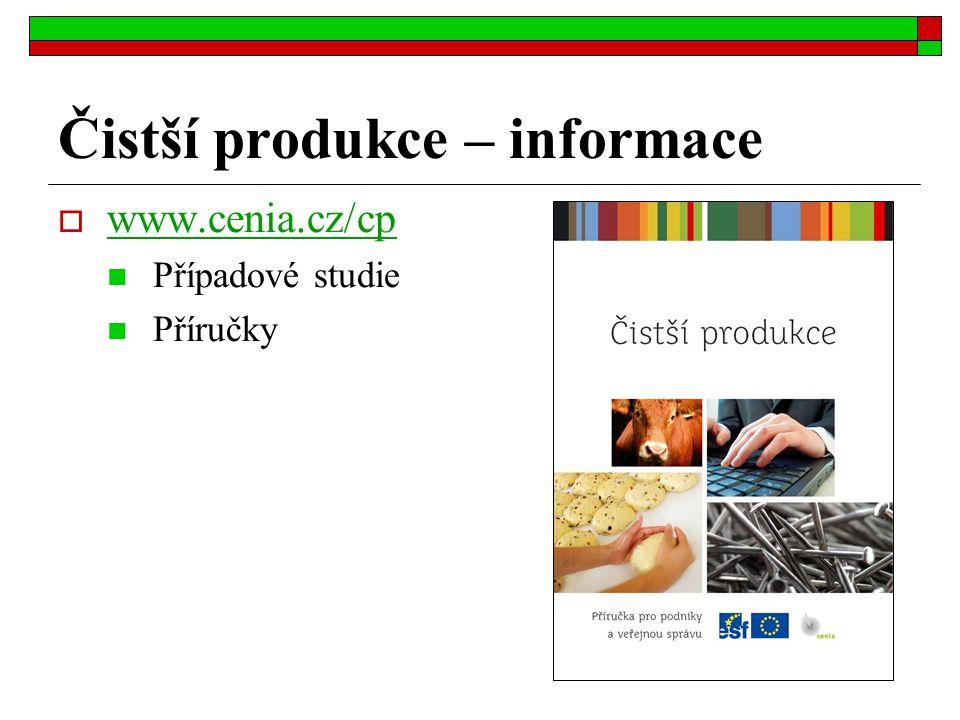 Čistší produkce – informace  www.cenia.cz/cp www.cenia.cz/cp Případové studie Příručky