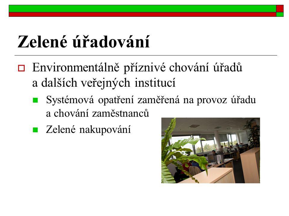 Zelené úřadování  Environmentálně příznivé chování úřadů a dalších veřejných institucí Systémová opatření zaměřená na provoz úřadu a chování zaměstna