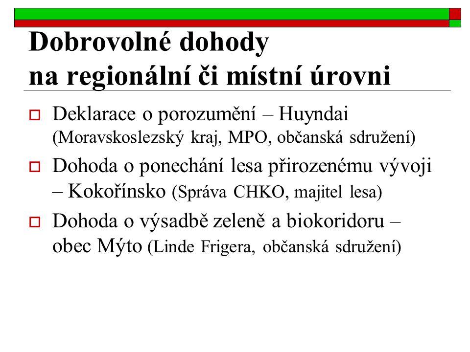  Deklarace o porozumění – Huyndai (Moravskoslezský kraj, MPO, občanská sdružení)  Dohoda o ponechání lesa přirozenému vývoji – Kokořínsko (Správa CH