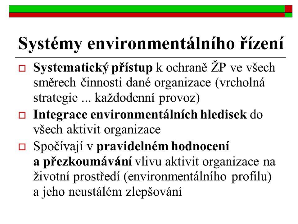 Systémy environmentálního řízení  Systematický přístup k ochraně ŽP ve všech směrech činnosti dané organizace (vrcholná strategie... každodenní provo